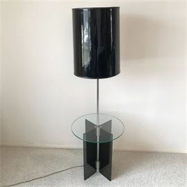 Vintage Chrome, Glass and Lucite Floor Table Lamp