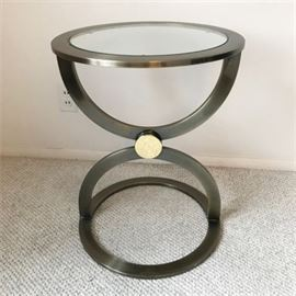 Round Brushed Brass Sculptural End Table