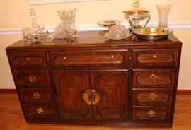 Thomasville buffet/server/sideboard, shown with Waterford and silverplate.