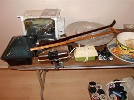 waffle maker, rotisserie oven, canes,