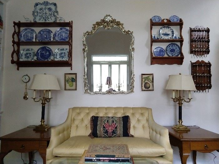 Pair of hand made wooden single drawer end tables, Kittinger love seat, with down cushion, pair of 3-arm French bouillotte lamps, silver gilt wood mirror, two sets of collectible silver spoon holders (mostly sterling), nice collection of Blue Danube porcelain.