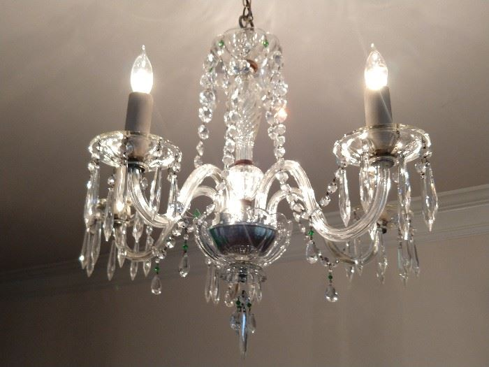 Vintage 5-arm crystal chandelier - sparkly fun!