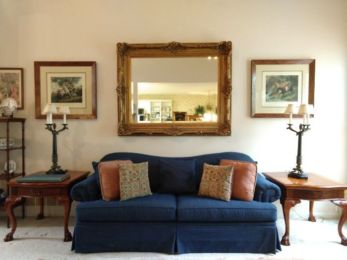 Vintage Craftmaster sofa (Taylorsville, NC), pair of Hickory White single drawer carved wood end tables, pair of vintage Maitland-Smith bronze/marble 3-light table lamps, pair of nicely framed/matted English hunt prints, in burl wood frames, HUGE gold wall mirror, with beveled glass.