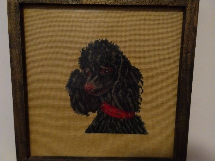 Sad, black Rudolf poodle immortalized in needlework - Fifi needs a good home, please adopt - already spayed.