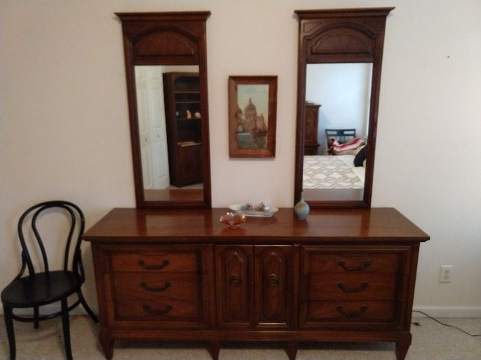 """Dixie"" pecan wood dresser, with matching mirrors."