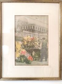 Nice original Parisian street scene of man selling flowers from a cart.                                                                                          Now, go smoke a hand-rolled cigarette and swig a shot of espresso at an outdoor cafe, while gazing at awkward American tourists - that's French immersion!