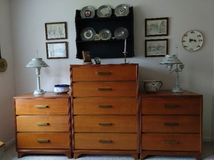 "Vintage 1948 Drexel 5-drawer chest, with pair of matching 3-drawer end tables, from their ""Rexwood"" design collection"