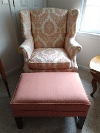 Freshly upholstered Hickory Chair wingback, with coordinating ottoman.