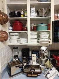 Blue Cornflower Corning Ware dishes, vintage cooper molds, vintage chrome appliances, KitchenAid mixer, etc.