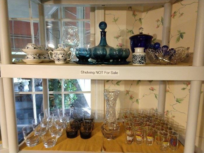Bar glasses, American Brilliant bowl and vase, blue glass cordial set, blue/white porcelain tea set.