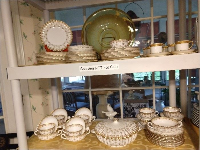 """Another view of the 72-piece Spode """"FLEUR DE LYS"""" gold china set."""