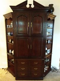 Vintage 1970's Ethan Allen 3-piece mahogany armoire, with recessed bookshelves.