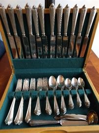 "74-piece set of Gorham ""Plymouth"" sterling silver flatware, in wooden chest."