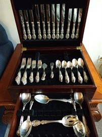 "90-piece set of Gorham ""Melrose"" sterling silver flatware, in mahogany chest."