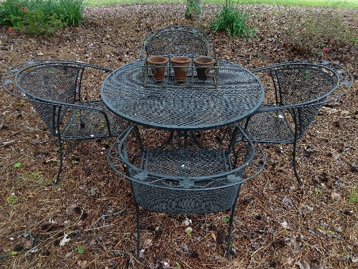 5-piece set of wrought iron outdoor patio furniture by Metalcrafters.