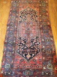 "Vintage Persian Kurdish Bijar rug, hand woven, 100% wool face, measures 4' 7"" x 4' 3""."