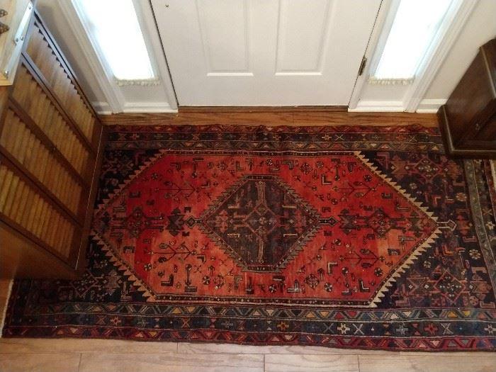 "Vintage Persian Kurdish Bijar rug, hand woven, 100% wool face, measures 3' 7"" x 7' 6""."