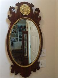 Close-up of the Henredon beveled glass mirror.
