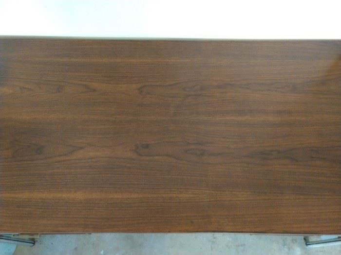 This is the top view of the teak wood desk, by Art Woodwork.