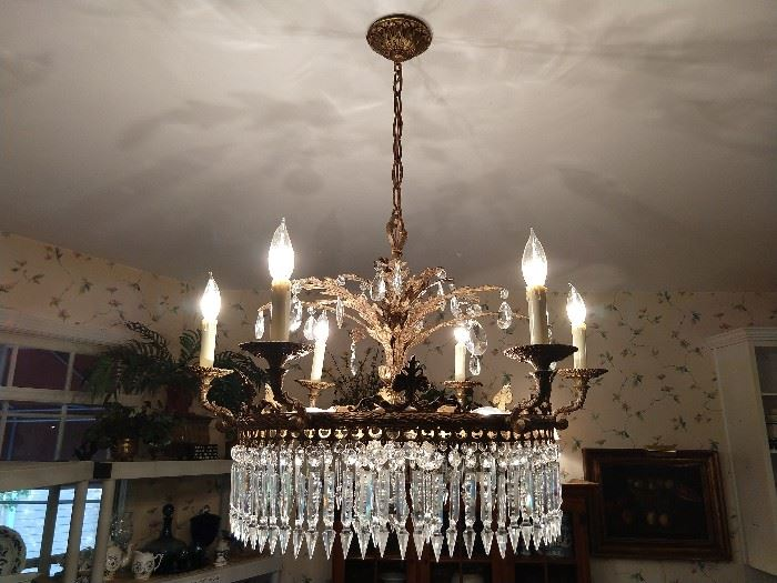 Absolutely gorgeous vintage Spanish brass/crystal 9-light chandelier!