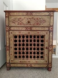 Hand painted wooden chest, with pierced front door.