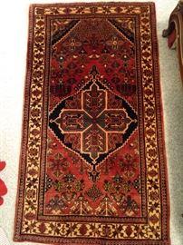 """Vintage Persian Maymeh Josheghan rug, hand woven, 100% wool face, measures 3' 3"""" x 5' 9""""."""