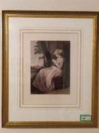 "Nicely framed lithograph, ""The Seamstress""."