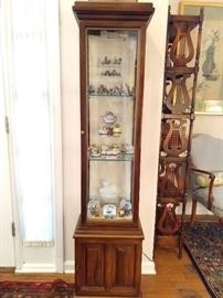 Vintage mahogany lighted curio cabinet, full of cute smalls - keep looking - next three pics give details.