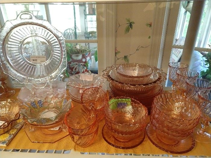 What would an estate sale be without the requisite pink Depression glass?                                                                         WELL, we have it rite cheer!