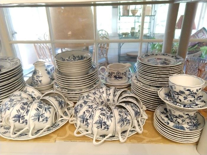100-piece set of Blue Danube china.