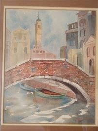 "Nicely framed/matted original watercolor, ""Ponte dei Pugni, by Helen Schneeberger."