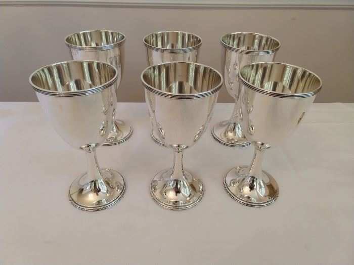 "GORGEOUS set of 6 Whiting 7"" tall #9325 sterling goblets, date marked 1923."