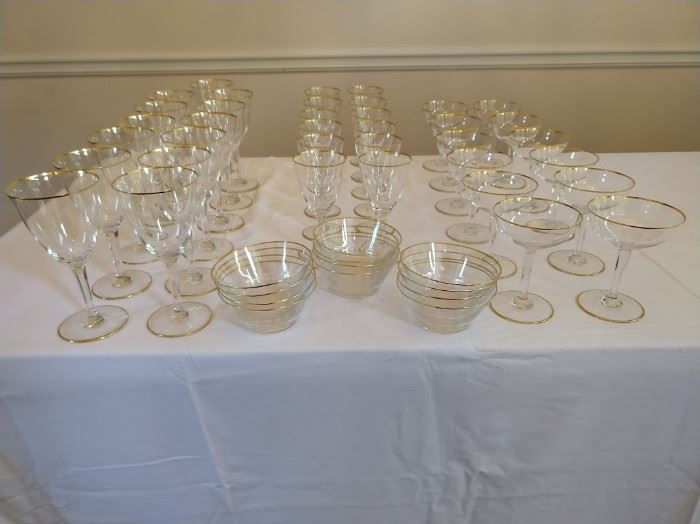 "Entire set of Baccarat ""Directoire"" stemware, which debuted in 1931, retired in 1961:  -13 Water Goblets -12 Claret Wines                                                                                 -12 Champagne Coupes -12 Dessert Bowls"