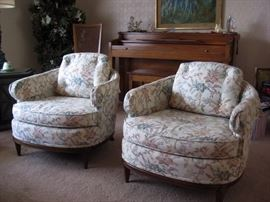 Matching upholstered living room chairs.
