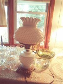 Hobb-Nail Milk glass Hurricane Lamp