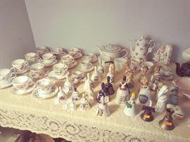 Ornate Figurines, Bells, Tea Pots & Cup & Saucer Sets