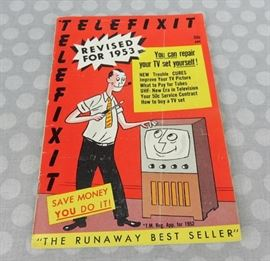 Vintage 1950's Booklet How to repair your TV set Great graphics fix a television in 1953 D.I.Y.	And Troubleshooting Dials