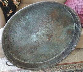 EKT007 Large Egyptian Copper or Brass Tray with Etchings