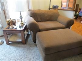 Matching two person chair with ottoman