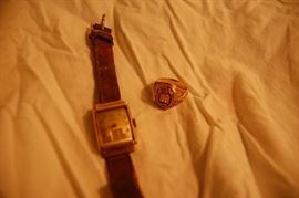 Gold Wrist Watch & Class Ring