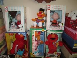 Elmo and Snoopy figures