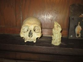 Skull and soap stone carving
