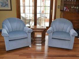 Pair of Lazy Boy channel back chairs and set of nesting tables
