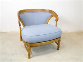 Blue Curved Fabric Chair