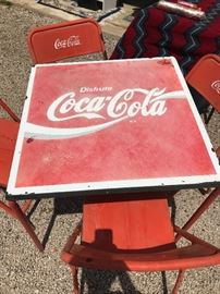 Vintage Coca Cola table and chairs  $120