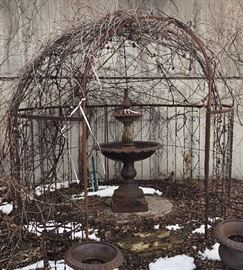 Iron arbor and cast iron fountain for sale.