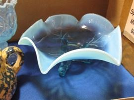 Opalescent blue glass dish