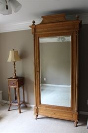 Mirrored armoire.  Bamboo, one-drawer table