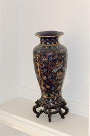 Cloisonne vase on stand