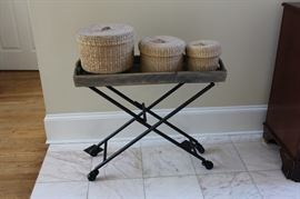 Metal folding table with three graduated size baskets